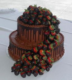 Dark & Milk Chocolate Groom's Cake with Dark Chocolate Covered Strawberries