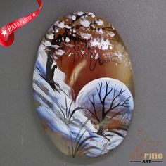 Creative Pendant Hand Painted Scenery Natural Gemstone ZL805634 #ZL #Pendant