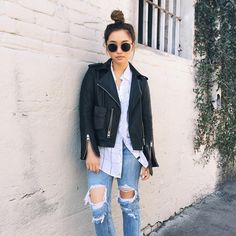 「Greasy strands call for a trusty top knot.」waysify