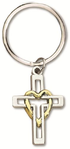 Cross with Heart Two Tone Silver & Gold Key Chain