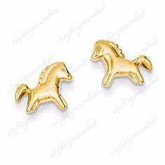 14K Yellow Gold Over.925 Sterling Silver Horse Shape Stud Earring For Unisex  #eighty #HorseShapeStudEarring