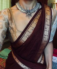 Jewellery saree-brands-margazhi-designs - Popular saree brands to shop on Cotton Saree Blouse, Silk Saree Blouse Designs, Fancy Blouse Designs, Blouse Patterns, Designer Saree Blouses, Traditional Blouse Designs, Traditional Sarees, Traditional Outfits, Trendy Sarees