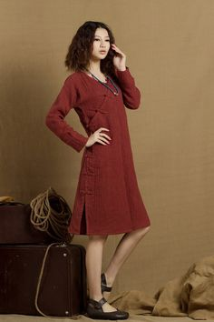 silk linen dress tunic dress winter dress in red  by camelliatune, $89.00