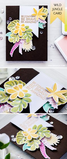 Create a Summer tropical encouragement card with Simon Says stamp Tropical Leaves stamps and dies!  wonder what colors of ink I used? Visit http://www.yanasmakula.com/?p=54254 to see the details!