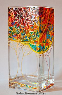 Inexpensive Floor Vases Ideas Easy And Cheap Cool Tips: Square Vases Centre Pieces modern vases utensil holder.Wall Vases Branches vases crafts for kids. Glass Bottle Crafts, Bottle Art, Glass Bottles, Stained Glass Paint, Stained Glass Patterns, L'art Du Vitrail, Glass Painting Designs, Glass Painting Patterns, Vase Crafts