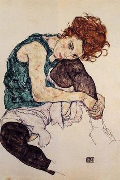 Donna seduta con ginocchio sollevato, 1917, acquerelli, Egon Schiele. Národní galerie v Praze, Praga, Repubblica Ceca.