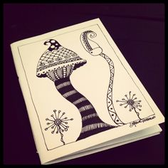 Illustrated notebook cover, zentangle design. Diy notebook A6. Quaderno #03