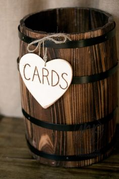 Tabletop whiskey barrel for cards