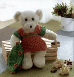 Crochet patterns for teddy bear clothes! So cute. Buy this pattern book on Maggies.com.