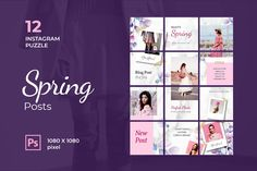 Instagram Puzzle – Beauty Spring Posts, is a professional, modern and elegant template for your Instagram posts and Gallery. Inspirational Posts, model photography, product Gallery, introduce your brand and more. With this Instagram post template, you can easily improve the quality of your Instagram with a more attractive and professional one.This template is fully editable and can be customized in Adobe Photoshop. It's very simple to use these template in Photoshop. Just edit texts and put… Instagram Banner, Instagram Story, Instagram Posts, Instagram Post Template, Pixel, Layout Template, Text Color, How To Introduce Yourself, Spring