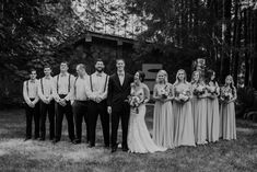 Shaynah Vandegriffe Photography | Kara + Harley | groomsmen in suspenders with bowties | bridesmaids in gray lace dress long