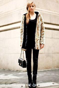 OASAP - Leopard Print Hooded Fur Coat  $126.00  #sportsgirl