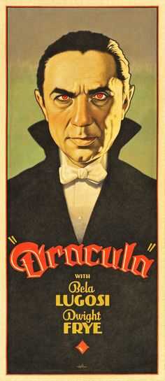 """Dracula"", Illustration and Graphic by Arthur K. Miller (b. American) - from the Film: 'Dracula', starring Bela Lugosi ~ 'Inspired and Restyling' of Classic Hollywood Horror Film (& lobby/cards) Posters. Horror Movie Posters, Old Movie Posters, Classic Movie Posters, Classic Horror Movies, Movie Poster Art, Classic Films, Vintage Posters, Scary Movies, Old Movies"
