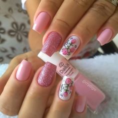 Mesmerizing Pink Nail Designs to Copy In 2020 Manicure Nail Designs, Pink Nail Designs, Manicure E Pedicure, Nails Design, Pink Nail Colors, Pink Nail Art, Pink Nails, Fancy Nail Art, Fancy Nails