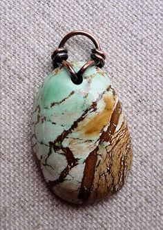 Turquoise Australian Handmade Pendant Copper Wire Bail | Ginnysart - Jewelry on ArtFire