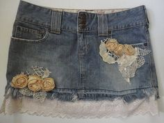 Denim Mini Skirt with Vintage Lace, Flowers, Abercrombie Short Frayed Skirt, Altered Couture, Boho C Short Jean Skirt, Jean Skirts, Denim Mini Skirt, Mini Skirts, Jean Crafts, Altered Couture, Mori Girl, Boho Look, Retro Outfits
