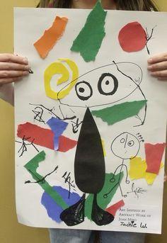 -Joan Miró inspired art lesson- K -Joan Miró inspiración en collage. -Colage inspiration de Joan Miró pour enfants.