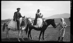 Parapoungia. (Boeotia) Wedding guests. 1924; Dorothy Burr Thompson. Old Pictures, Old Photos, Great Photographers, Photo Archive, Camel, Greece, Nostalgia, Horses, Memories