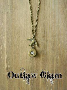 Bullet Necklace Bullet Jewelry Antique Bronze by SecretGardenNotes