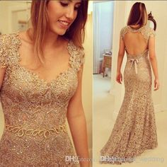 Wholesale Lace Prom Dress - Buy High Quality Scoop Backless Short Sleeve Prom Dresses Floor Length Paillette Lace Open Back Silver Prom Gown