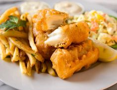 You will need:     3-4 lbs halibut filets (or substitute similar firm-fleshed fish)     2 egg whites     1 cup flour     1/2 teaspoon salt     2 teaspoon canola oil     1 cup beer    Directions:     Cut halibut into pieces, about 3 inches