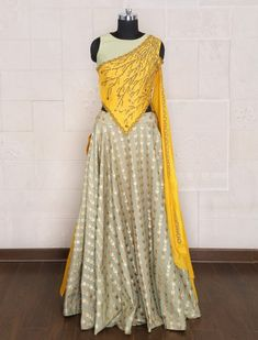 Shop Pista green color silk party lehenga choli online from India. Indian Gowns Dresses, Indian Fashion Dresses, Indian Designer Outfits, Dress Indian Style, Fashion Clothes, Designer Party Wear Dresses, Kurti Designs Party Wear, Designer Skirts, Choli Designs