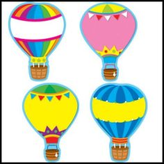 Carson Dellosa Hot Air Balloons Accent your classroom theme, encourage good behavior, create award, and so much more with these colorful cut-outs! Hot Air Balloon Classroom Theme, Classroom Themes, Space Classroom, Classroom Displays, Classroom Organization, Gif Disney, Carson Dellosa, Custom Stamps, Custom Photo