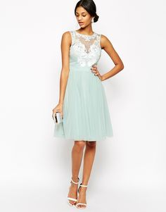 Lipsy VIP Laser Cut Midi Prom Dress With Full Skirt