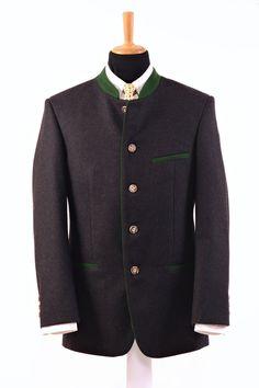 """Modell """" WELS """": Trachtensakko ohne Rückenfalte!  Bei diesem Sakko im  Trachtenmoden und Landhausmoden  Stil wurde ein hochwertiger anthrazitfarbiger... Suit Jacket, Fashion, Wels, Mandarin Collar, Model, Clothing, Jackets, Moda, La Mode"""