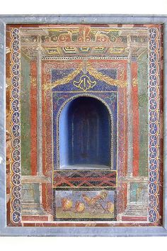 Niche embellished with glass paste mosaic recovered from Vesuvian ash Roman 1st century CE