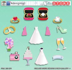 Wedding clipart kit, Bridal showers, Bride dress engagement clipart Digital graphics great for Wedding invitations cards, planner stickers