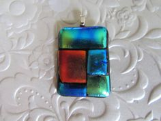 Dichroic Pendant  Fused Glass Pendant  Glass by feesfusions