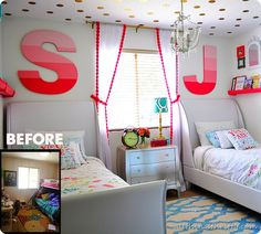 Coral, Gold, and Aqua Girl's Bedroom Reveal!