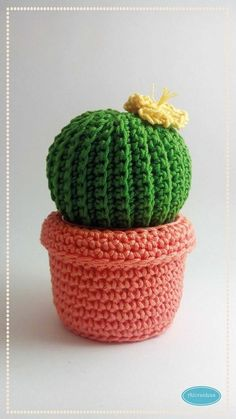 Afbeeldingsresultaat voor cactus en crochet paso a paso I think this would look great as a basket with lid! Crochet Flower Patterns, Crochet Patterns Amigurumi, Crochet Designs, Crochet Flowers, Crochet Stitches, Crochet Home, Crochet Gifts, Knit Crochet, Cactus En Crochet