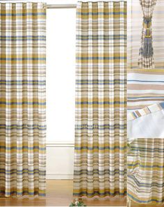 Simple Casual Yellow And Blue Striped Kids Room Curtains Bright Horizontal Made Of Polyester Fabric Doing Well On Privacy