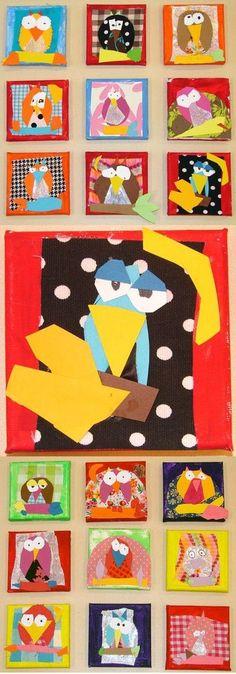circle eyes + triangle beak + endless imagination=these awesome birds! circle eyes + triangle beak + endless imagination=these awesome birds! Kindergarten Art, Preschool Art, Owl Art, Bird Art, Square 1 Art, Ecole Art, School Art Projects, Art Lessons Elementary, Art Classroom