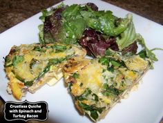 Sliced potatoes make the crust for this healthy crustless quiche packed with eggs, spinach and turkey bacon.