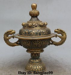 "12"" Chinese Cloisonne Enamel Bronze Gilt Fly Dragon Lion incense burner Censer"