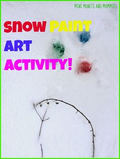 Snow paint art activity for kids in the winter!