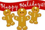 Gingerbread cookie men clip art banner for gift tags and gift stickers.