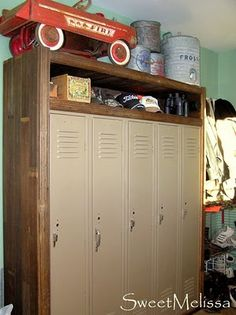 diy locker project, would be cool for the back porch or the boys bedroom