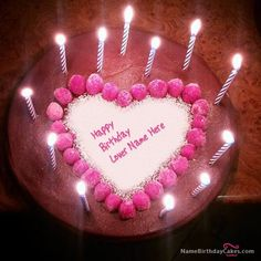 write name on Candles Heart Happy Birthday Cake picture