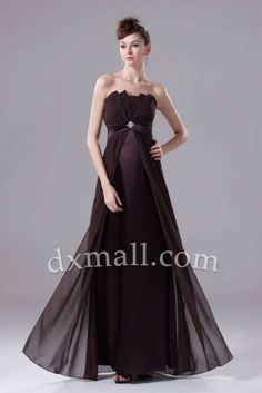 Empire Wedding Guest Dresses Strapless Floor Length Taffeta Chocolate 13001030016 - Bridal Party Dresses
