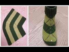 ОДНИМ ПОЛОТНОМ!!! Сапожки(тапочки)-следки на двух спицах./patik modelleri - YouTube Knitting Socks, Knitting Needles, Free Knitting, Crochet Round, Crochet Baby, Knit Crochet, Knitted Slippers, Crochet Slippers, Baby Patterns