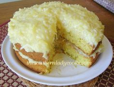 THE Cake Recipe~ With the cooked pineapple & coconut frosting! The Secrets out! A Crowd Pleaser.Won Prize on a Bake Off with this! Sweet Recipes, Cake Recipes, Dessert Recipes, Cooked Pineapple, Pineapple Coconut, Pineapple Cake, Pineapple Frosting, Crushed Pineapple, 7 Up Cake