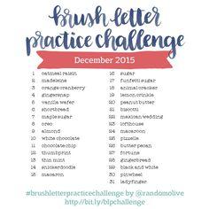 Brush Letter inspiration prompts for Instagram. Join the challenge!