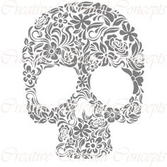 This is a Floral Mexican Halloween Sugar Skull Decorative Stencil (Dia De Los Muertos)    It is available in the following sizes:    12 inches
