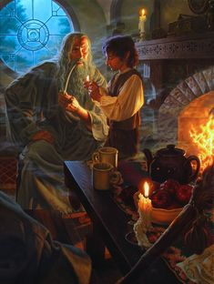 Гэндальф и Фродо The Inheritance by Raoul Vitale (from Tolkien's Lord of the Rings), in Scruffy Perkin's Tolkien Art Comic Art Gallery Room Jrr Tolkien, Lord Of Rings, Fellowship Of The Ring, Gandalf, Legolas, Superwholock, Fantasy World, Fantasy Art, Shire
