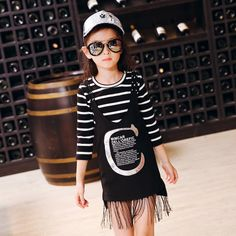 >> Click to Buy << Fall New South Korean Girls Fashion Stripe Seven Sleeve Casual Suspenders T-shirt-dressTwo Pieces Suits Kids Clothing Sets Black #Affiliate