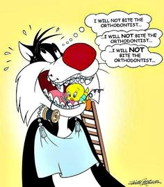 Orthodontist Tweety in Sylvester's mouth